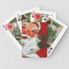 Retro Vintage Christmas Santa Holiday playing card