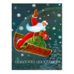 Retro Vintage Christmas, Santa's magic carpet Post Card