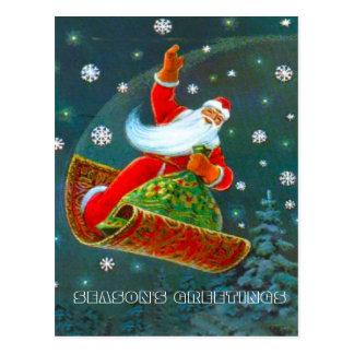 Retro Vintage Christmas, Santa's magic carpet Postcard