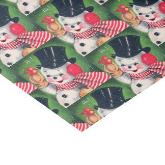 Retro Vintage Christmas snowman party tissue Tissue Paper