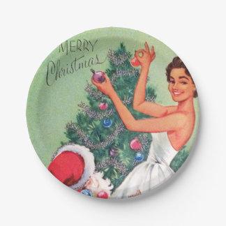 Retro Vintage Christmas woman Santa party plate