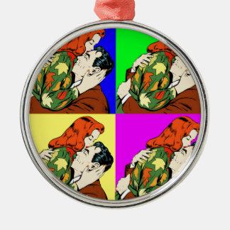 retro vintage comic Silver-Colored round ornament