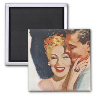 Retro Vintage Couple Square Magnet