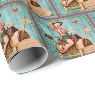 Retro Vintage Cowgirl On Wooden Horse Wrapping Paper