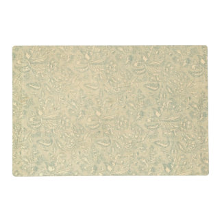 Retro Vintage Creme Leaf Floral Moss Green Laminated Placemat