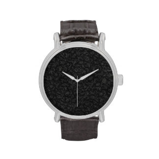 Retro Vintage Floral Charcoal Gray Black Flowers Watches