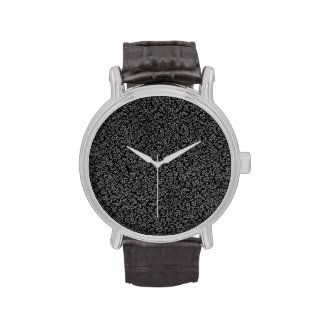Retro Vintage Floral Charcoal Gray Black Flowers Wristwatch