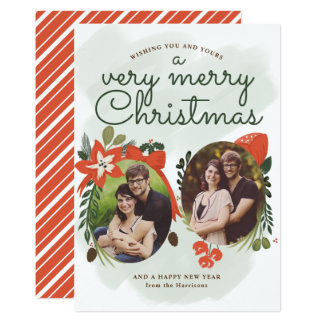 Retro Vintage Floral Christmas Photo Card