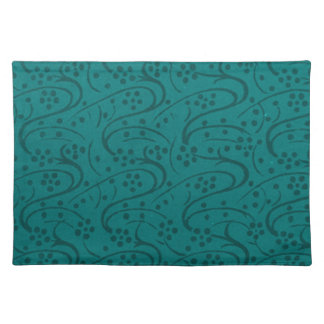 Retro Vintage Floral Dark Teal Placemats