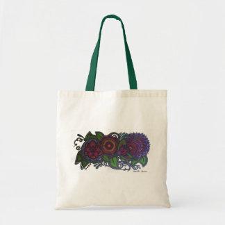 Retro, vintage floral design tote bag