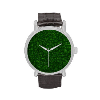 Retro Vintage Floral Emerald Green Flowers Watches