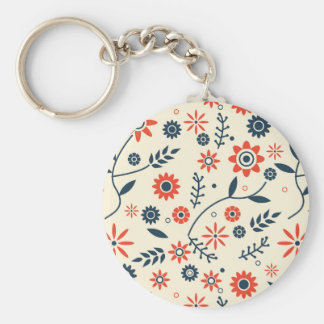 Retro Vintage Floral Flower Seamless Pattern Basic Round Button Keychain