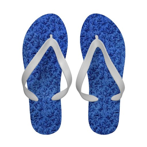 Retro Vintage Floral Lace Leaf Sapphire Blue Sandals