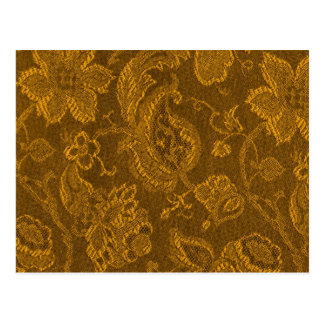 Retro Vintage Floral Mustard Yellow Gold Postcard