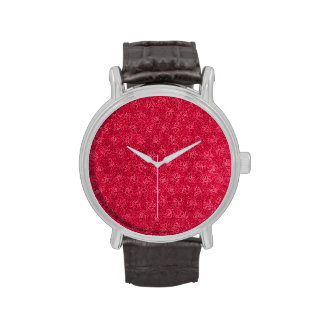 Retro Vintage Floral Ruby Cranberry Red Violets Watches