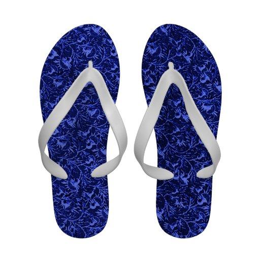 Retro Vintage Floral Sapphire Blue Flowers Leaves Sandals