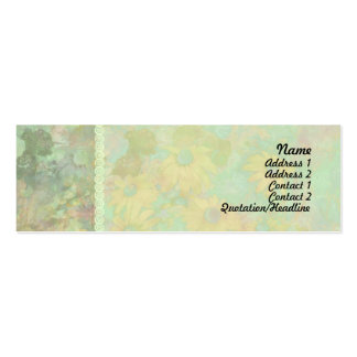 Retro Vintage Floral Yellow Green Mini Business Card