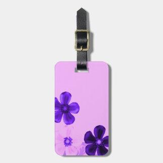Retro Vintage Flowers Floral Purple Luggage Tag