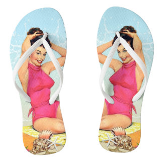 Retro Vintage Girl - Pink Swimsuit - Beach Flip Flops