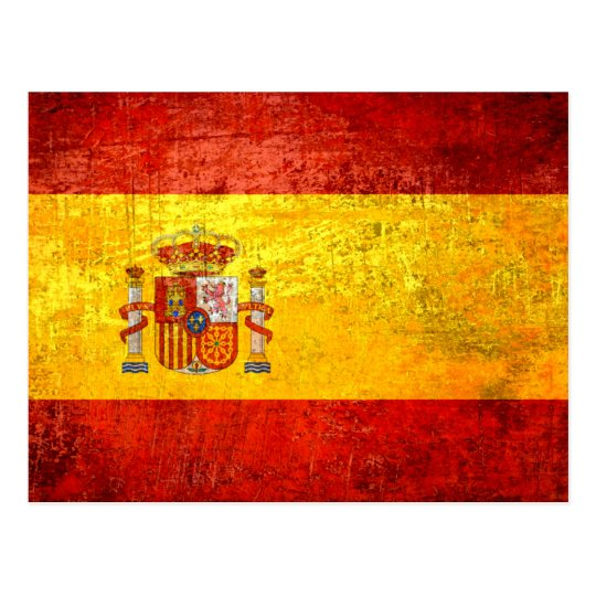 Retro Vintage Grunge Spanish flag of Spain Postcard