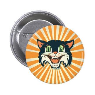 Retro Vintage Halloween Cat 2 Inch Round Button
