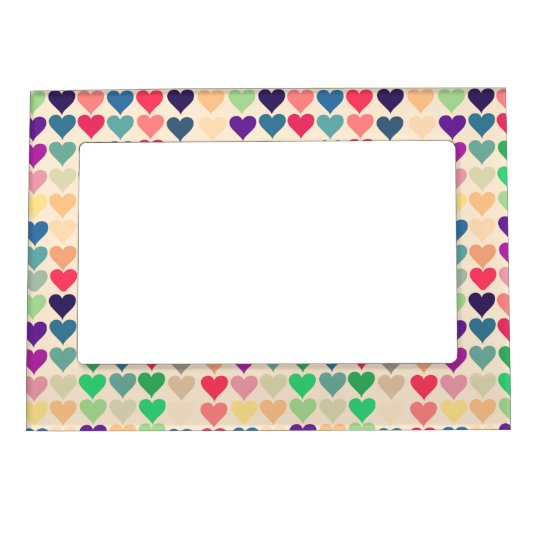 Retro vintage heart tiled heart pattern colourful magnetic frame