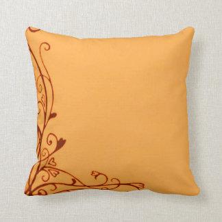 Retro Vintage Heart Vines Tangerine Orange Pillows