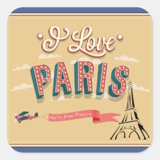 Retro Vintage I love Paris Stickers