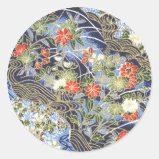 Retro Vintage Japanese Kimono Origami Chiyogami Round Sticker