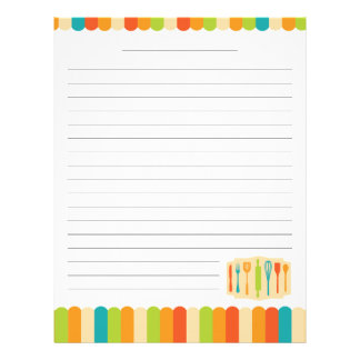 Retro Vintage Kitchen Cooking Utensils Recipe Letterhead