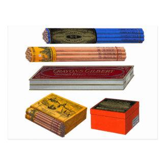 Retro Vintage Kitsch 20s Crayons Pencils Gilbert Postcard