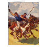 Retro Vintage Kitsch 20s Polo Match Greeting Card