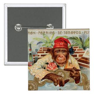 Retro Vintage Kitsch 30s Cigar El Ricolo Chimp 2 Inch Square Button