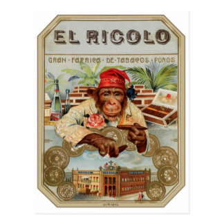 Retro Vintage Kitsch 30s Cigar El Ricolo Chimp Postcard