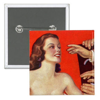 Retro Vintage Kitsch 30s Surreal Grab Hands 2 Inch Square Button