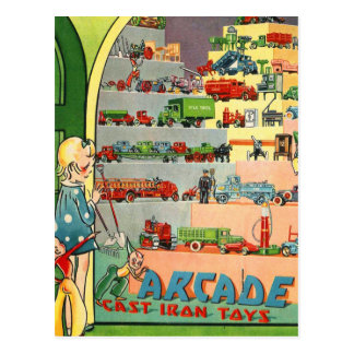 Retro Vintage Kitsch 30s Toy Arcade Cast Iron Toys Postcard