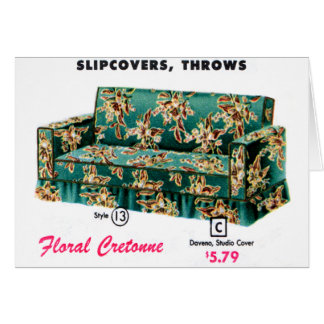 Retro Vintage Kitsch 40s Catalog Sofa Davenport Card