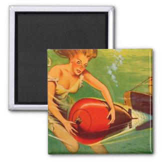 Retro Vintage Kitsch 40s Pulp Torpedo Caught! Square Magnet