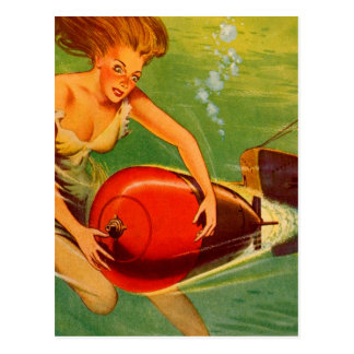 Retro Vintage Kitsch 40s Pulp Torpedo Caught! Postcard
