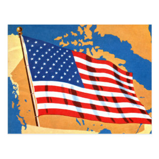 Retro Vintage Kitsch 50s America Hello USA Flag Postcard
