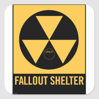 Retro Vintage Kitsch 50s Fallout Shelter Sign Square Sticker
