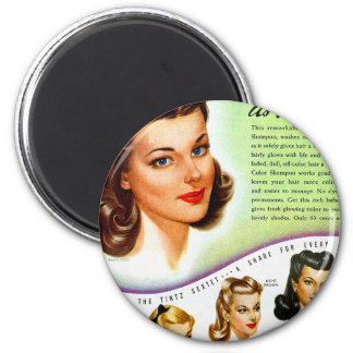 Retro Vintage Kitsch 50s Tintz Haircolor Ad 2 Inch Round Magnet