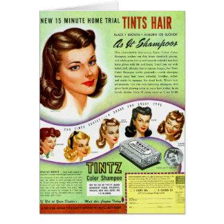 Retro Vintage Kitsch 50s Tintz Haircolor Ad Greeting Card
