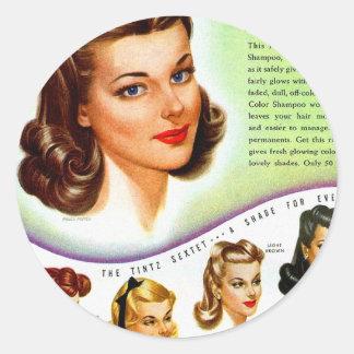 Retro Vintage Kitsch 50s Tintz Haircolor Ad Round Sticker