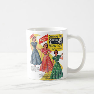 Retro Vintage Kitsch 50s Woman Dresses Fashion Ad Coffee Mug