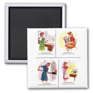 Retro Vintage Kitsch 50s Woman Housewife Savings Square Magnet