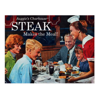 Retro Vintage Kitsch 60s Beef Steak Dinner Ad Art Postcard