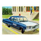 Retro Vintage Kitsch 60s Cops Police Car Cruiser Postcard