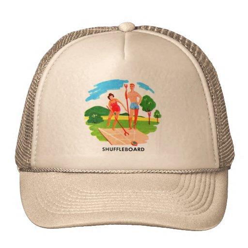 Retro Vintage Kitsch 60s Resort Suffleboard Beach Mesh Hats