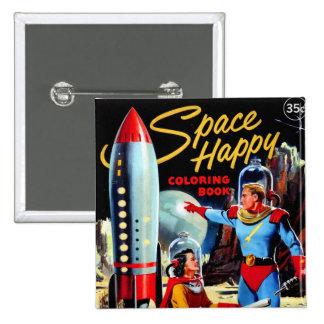 Retro Vintage Kitsch 60s Space Happy Coloring Book Pin